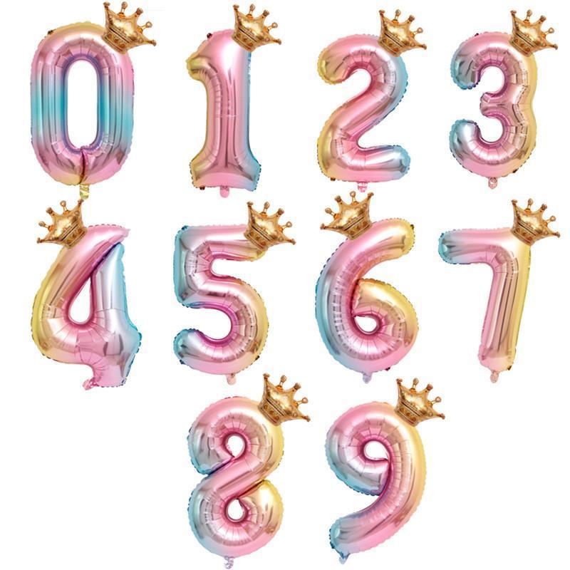 Pulgada rosa oro corona dígito 0-9 número de globo de lámina con chico niña cumpleaños baby shower niños fiesta decoración decoración