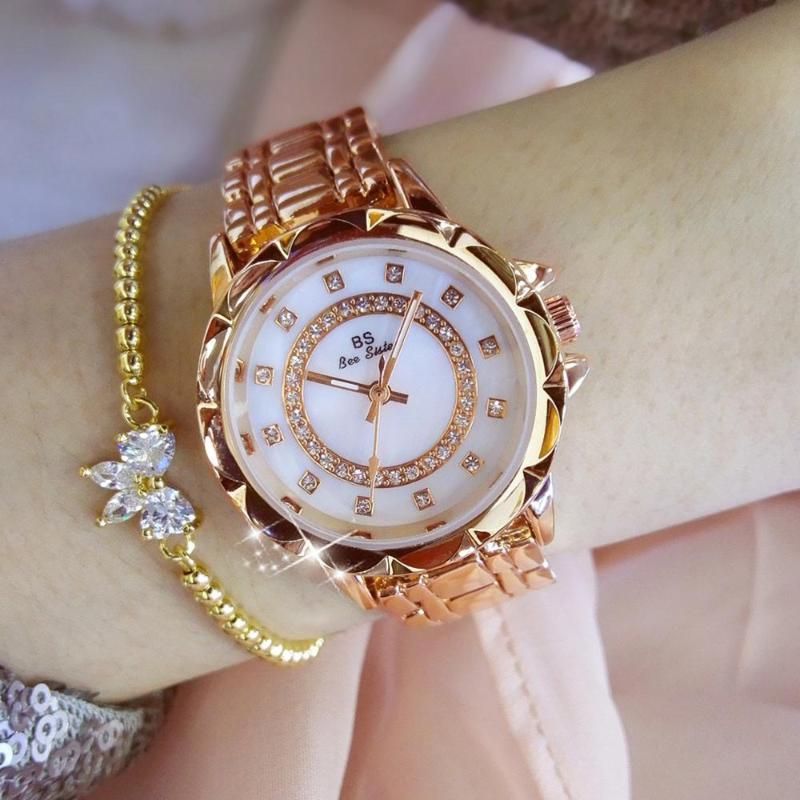 Wristwatches RELOGIO FEMININO LADIES DIAMOND WATCHES WOMAN ROSE GOLD SILVER FEMALE CLOCK QUARTZ WRISTWATCH