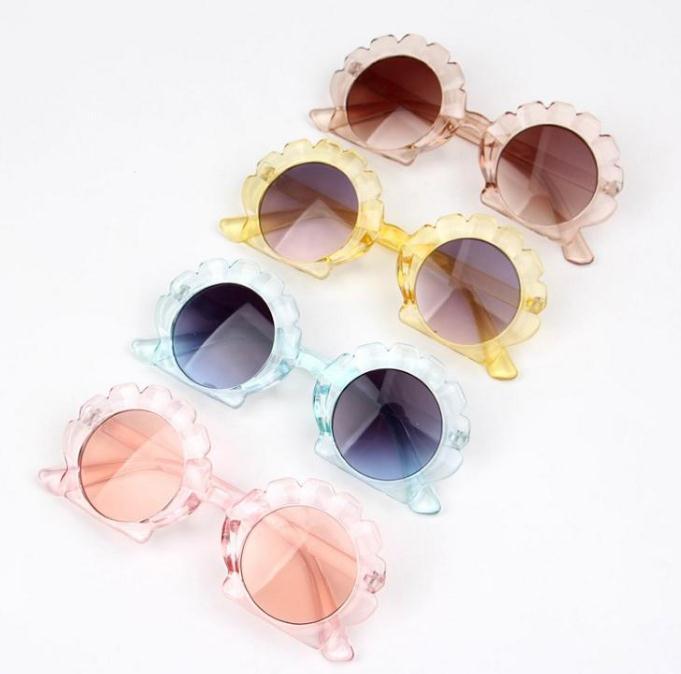 محارة شل الشكل النظارات الشمسية أزياء الفتيات بنين شاطئ أطفال نظارات الشمس DD264