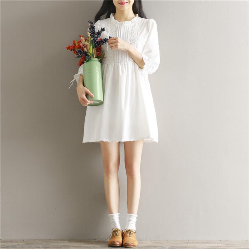 Estilo Coreano Verão Sundress Doce Mulheres Branco Praia Dress Lace Up Sleeve Loose Sexy Ruffles Collar Algodão Mini 2021 Vestidos Casuais