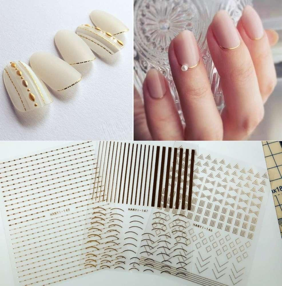 HANYI144-149 Decal d'ongle 3D ultra mince d'or avec autocollant d'amélioration de ongles de colle dos