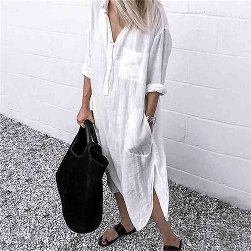 Vestido de verão para mulheres linen maxi camisa vestidos elegante elegante vestidos túnica feminina plus tamanho 5xl vestido longo branco 210715
