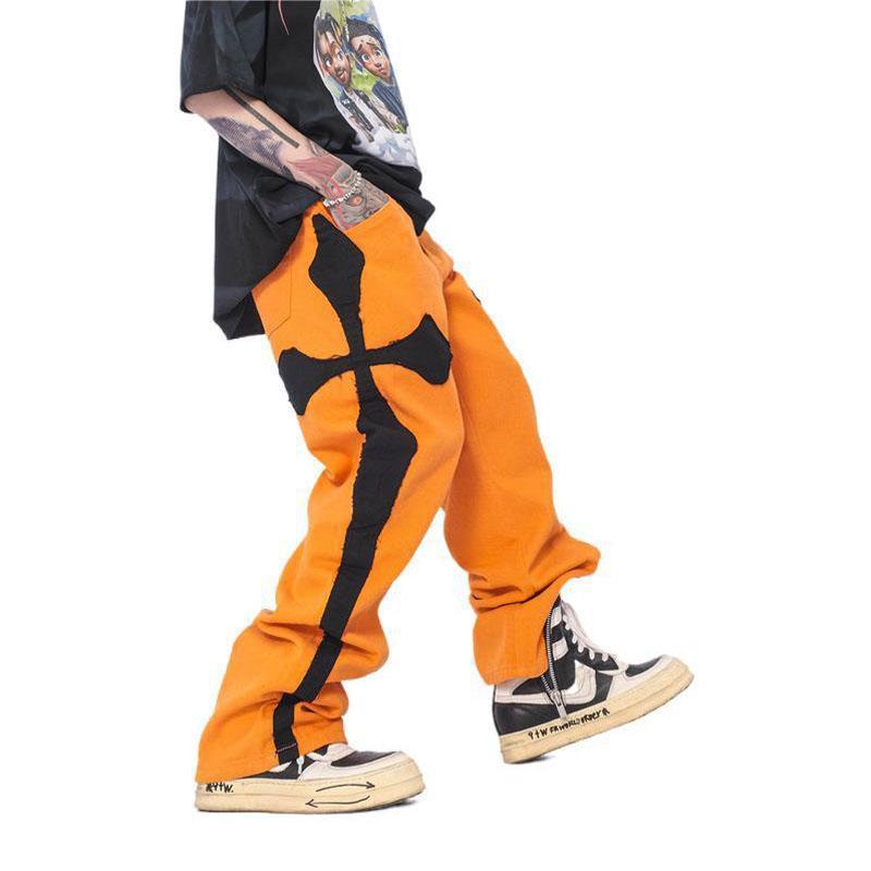 Erkekler Çapraz Yüksek Sokak Gevşek Rahat Düz Kot Uzun Pantolon Erkek Japonya Kore Streetwear Hip Hop Geniş Bacak Denim Pantolon Erkekler