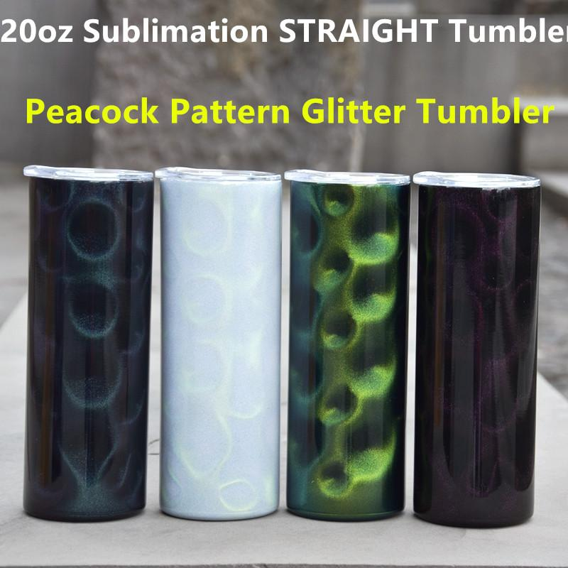 Blank Sublimation Tumbler 20oz STRAIGHT skinny tumbler 3D Dazzle Color Tumblers Peacock Pattern glitter tumbler with lids Stainless Steel Travel Coffee Mugs