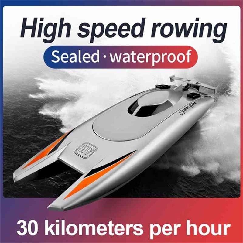 2,4g Radio Remoto Controle Barco de Alta Velocidade Remo 7.4V Capacidade Bateria Dual Motor RC Barco 30Km por hora Brinquedos para crianças Presente # G4 210323