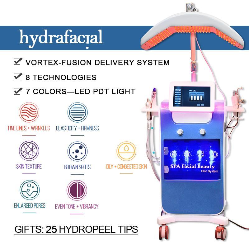 Professional 8 In1 Water Hydra Microdermabrasion Microdermabrasion Очищающий кожу Кислородной струей Био Ультразвуковая гидрапроизводная машина Гидрафакальная дермабразия