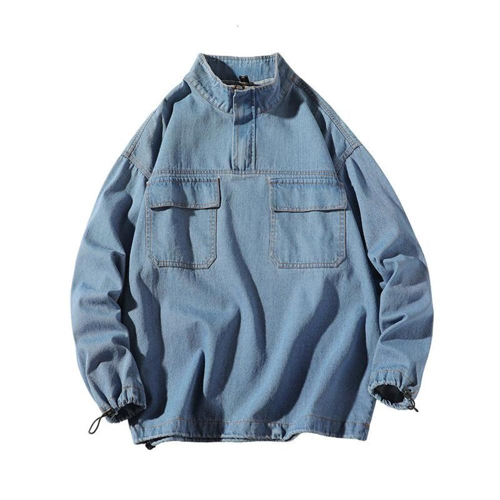 Hommes Spring Automne Nouveau Pull Casual Top Veste Top Black Bleu Coller Collier Plus Taille 5XL Denim Coat