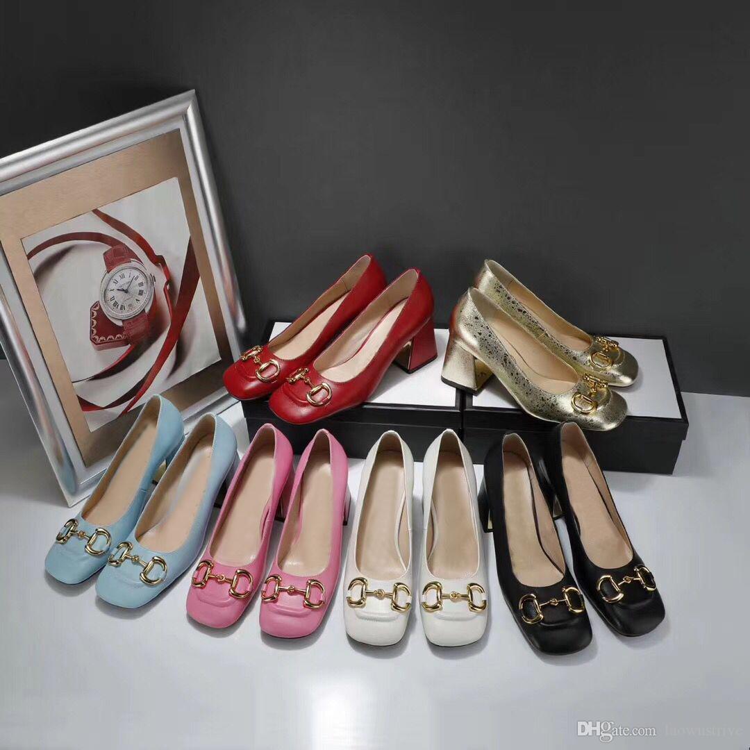 2021 Novos sapatos de vestido de vaca de altos saltos de verão Moda de verão colher mulheres sapatos 100% couro de couro senhora alta alta sapatos de barco de salto alto 35-42
