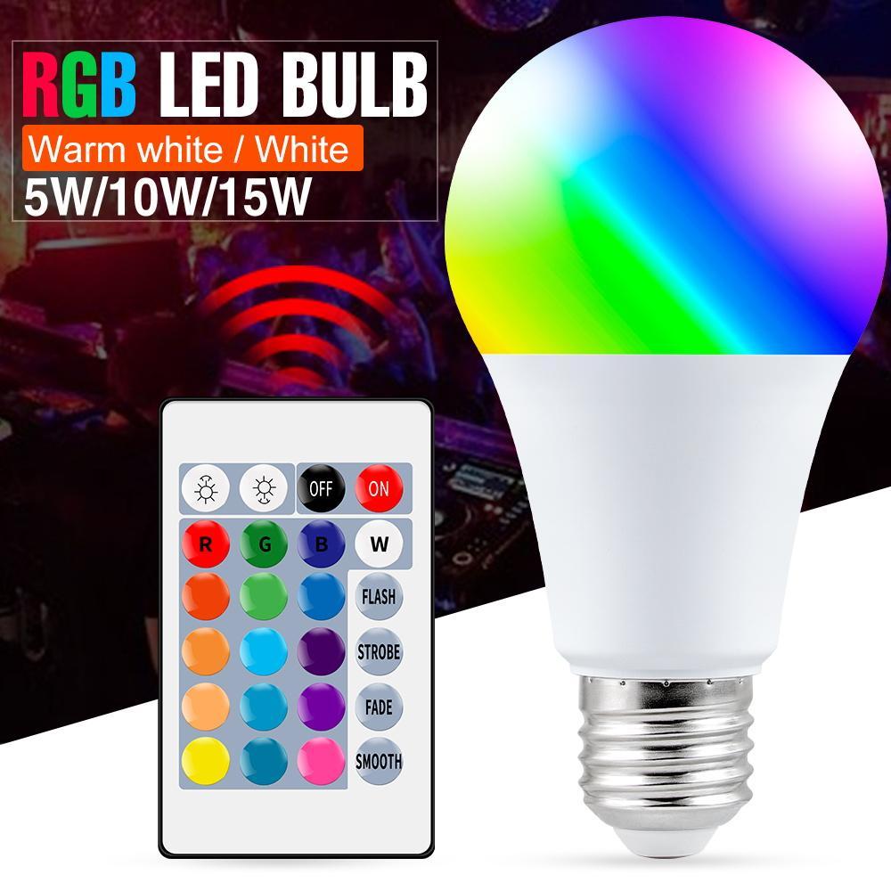 Ampoules à LED E27 Contrôle intelligent RVB Light Dimmable 5W 10W 15W Lampe RGBW Change Changement Ampoule Chaud Blanc Décor Chaud