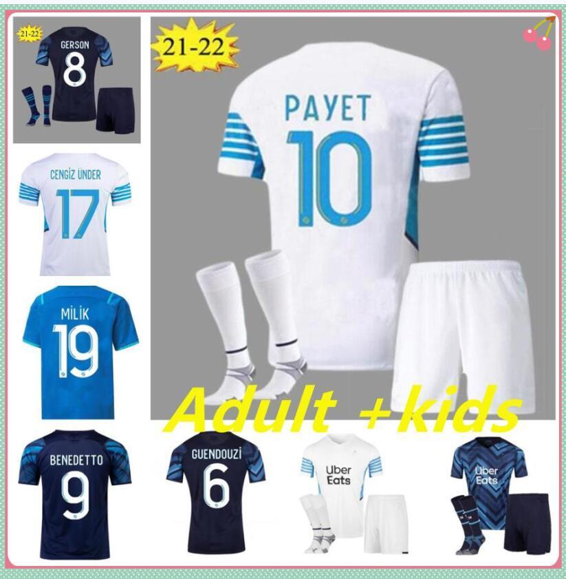 22 22 마르세유 축구 유니폼 팬 플레이어 버전 2021 2022 Thauvin Payet Om Milik Maillot Foot Cuisance Benedetto Kamara Olympique De Unifors Kits 축구 셔츠