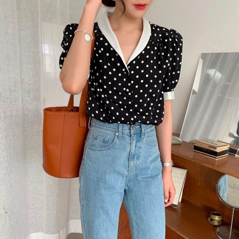 Retro Hong Kong Women's Blouses foreign style top Polka Dot BLACK CHIFFON short sleeve shirt European station summer dress women