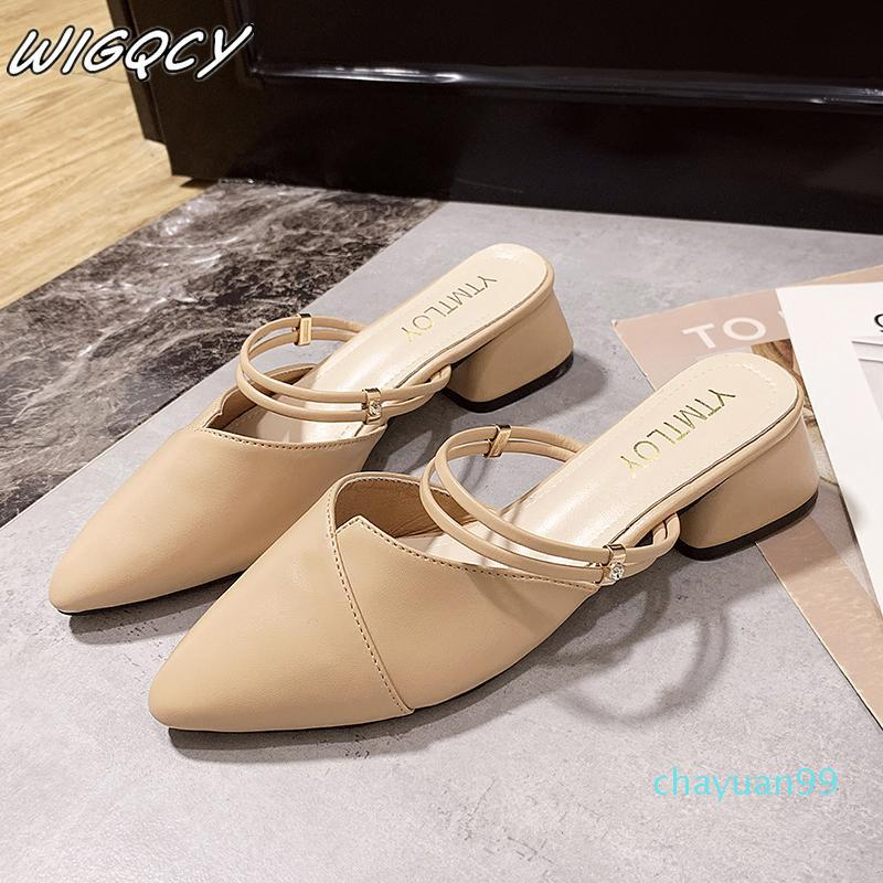 Dress Shoes Party Donne Donne Muli Slipper Slipper punta a punta cinturino Chiuso Shallow Tacchi alti Sandali Black Beige Square Tacco quadrato 2021
