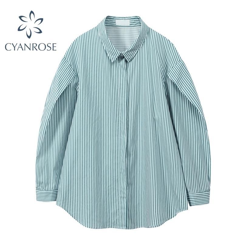 Camicette a strisce Camicie Donne Manica lunga Single Bresed Bavero Boyfriend Blusas Spring HARAJUKU Fashion Oversized Fashion Ins Top 210515