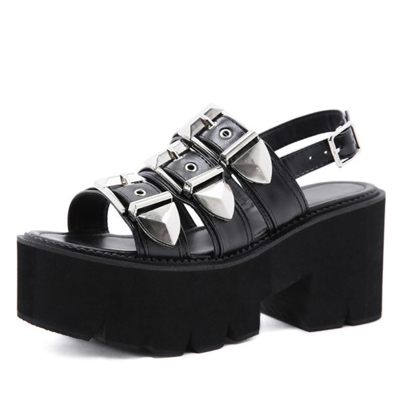 Ayak Bileği Kayışı Yaz Moda Kadın Sandalet Toe Platformu Ayakkabı Yüksek Kalın Topuklu Kadın Siyah Benzersiz Parti 35-42 C128