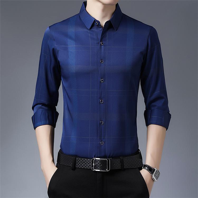 2021 Primavera y otoño papá camisa para hombre de mediana edad, antiguo, casual, Top, Top Padre Stripe de manga larga