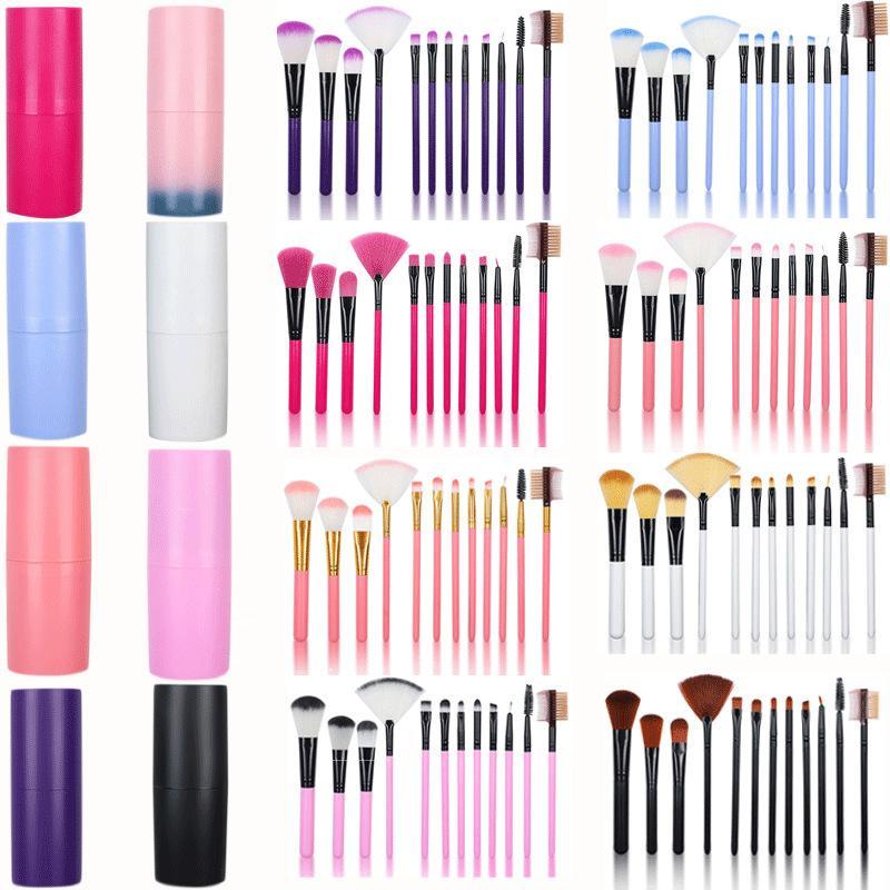 10pcs brosse avec cas rond maquillage pinceau set Fondation professionnelle Fondée à paupières de maquillage poudre de maquillage