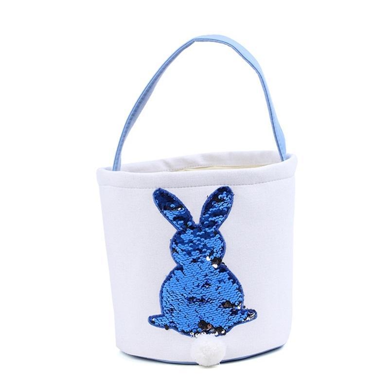 Sirena lentejuelas de Pascua Canasta de Pascua Bolsos de conejo Bolso de almacenamiento DIY Lindo lindo regalo de Pascua bolso de conejo orejas Poner huevos de Pascua Cestas 170 V2