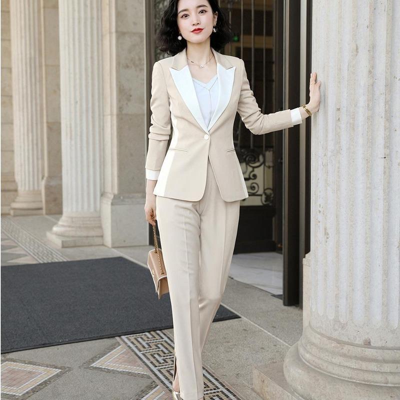 Pantalón traje mujer s-5xl oficina dama negro albaricoque trabajo chaqueta blazer abrigo y conjunto de 2 piezas Dos pantalones de mujer