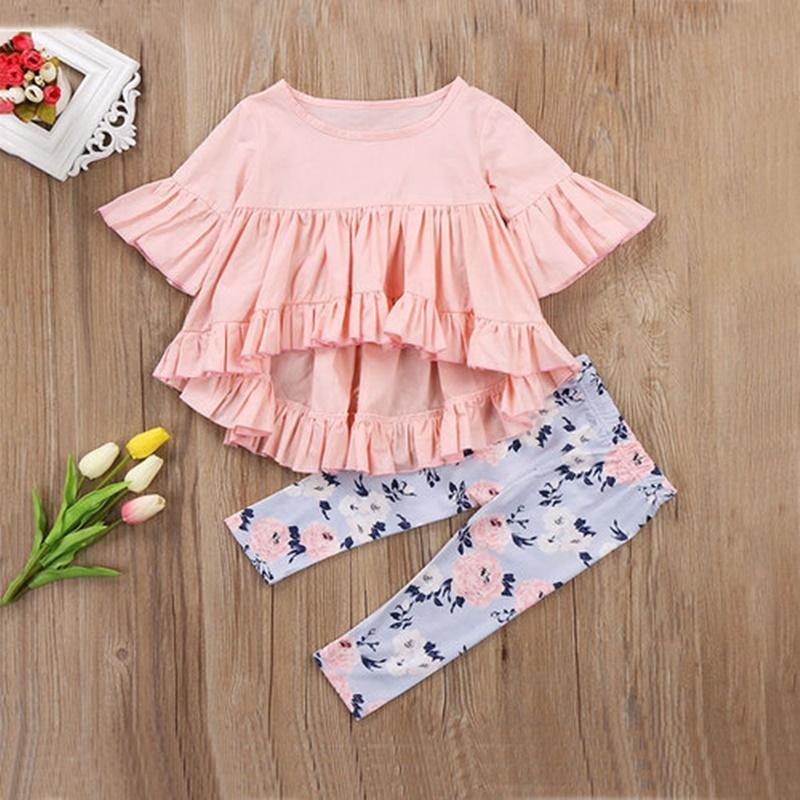 Set di abbigliamento Bambini Ragazze Abbigliamento Abiti Abiti Baby Girl 2pcs Ruffles solido Maniche a fuoco a fuoco corto Top irregolari + Pantaloni per stampa floreale