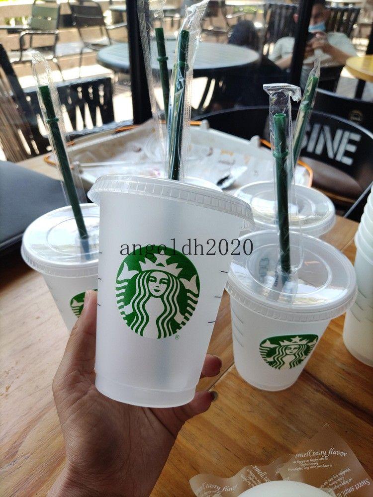 50 STÜCKE 16 Unzen Tumbler Kunststoff Trinksaft Cup mit Lippe und Strohmiefter Kaffeetasse Costom Starbucks Kunststoff Transparente Tasse