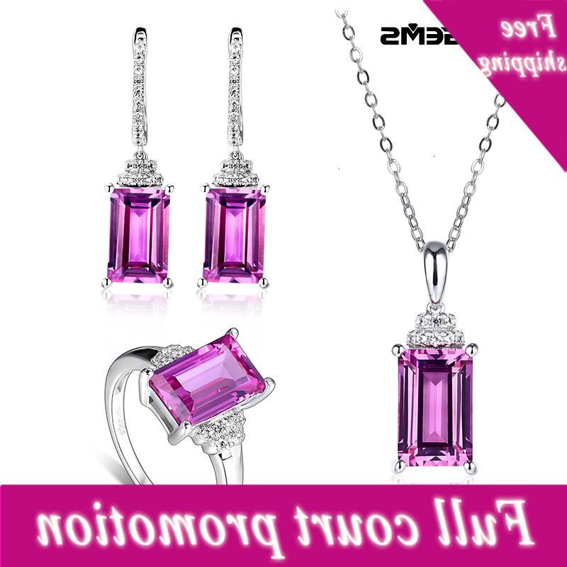 Pares de plata esterlina fina 12.8 Karate Hecho Sapphire S925 Jewelry Set Cadeau para el Día de la Madre