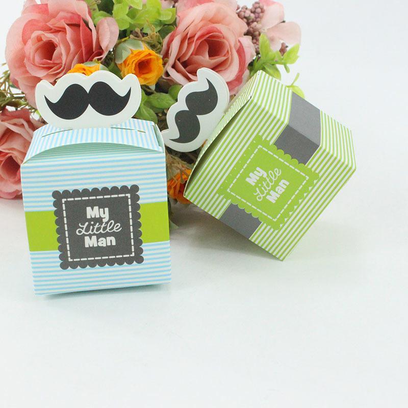Bebek Duş Parti Favor Hediye Ambalaj Boite Dragees De Mariage Mutlu Doğum Günü Şeker Kutusu Kağıt Torbaları Hediyeler için 50 adet