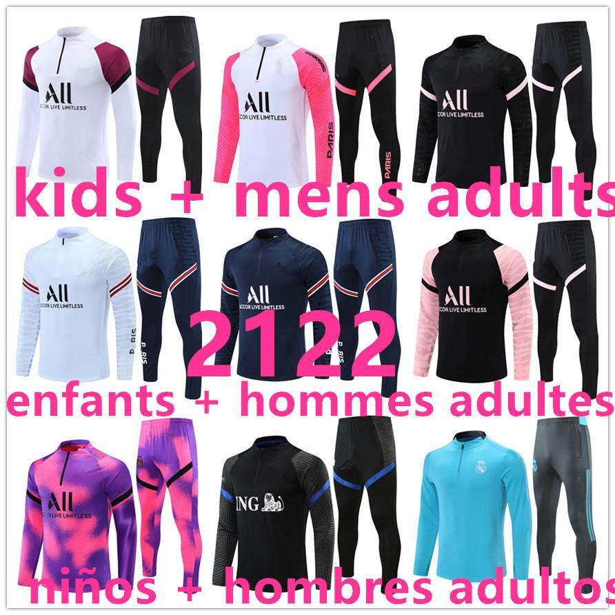 2021 2122 تدريب كرة القدم الفانيلة كرة القدم جيرسي رياضية بدلة أطفال + الرجال الكبار ريال مدريد تشاندال الركض