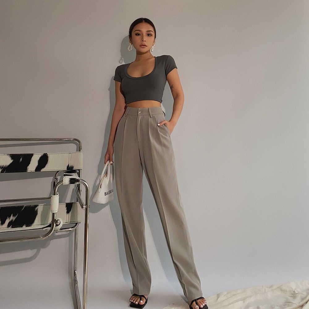 Frauen breite Beinhose, elegante beiläufige Hosen, hohe Qualität, Bürogebrauch, Frühling, großer Rabatt J0524