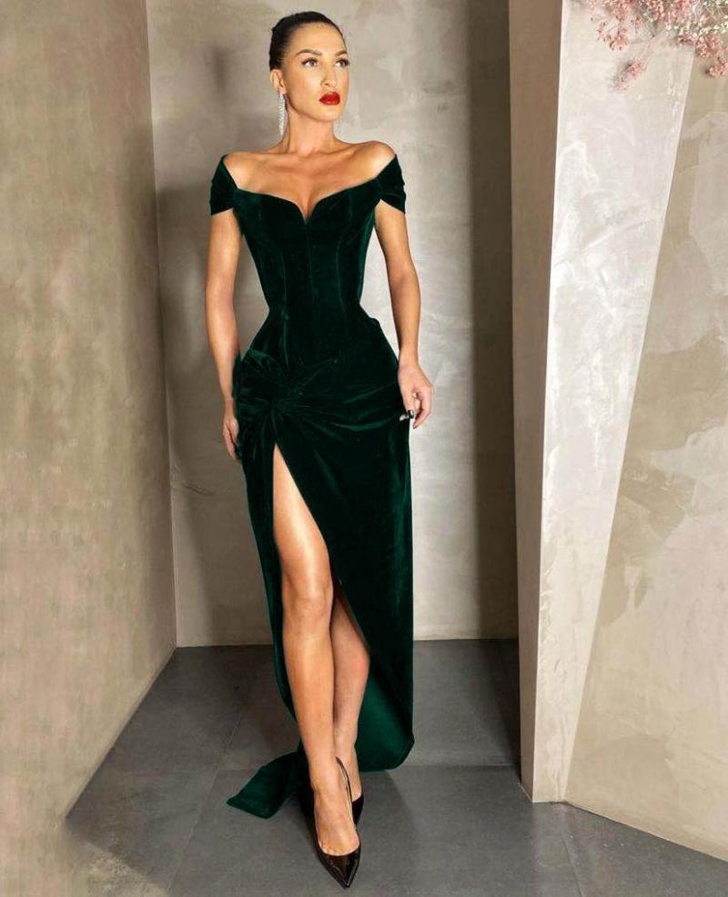 Günlük Elbiseler Swtao Kadınlar Seksi Tasarımcı Kadife Uzun Yeşil Parti Elbise 2021 Split Zarif Akşam Kulübü Ünlü Vestido