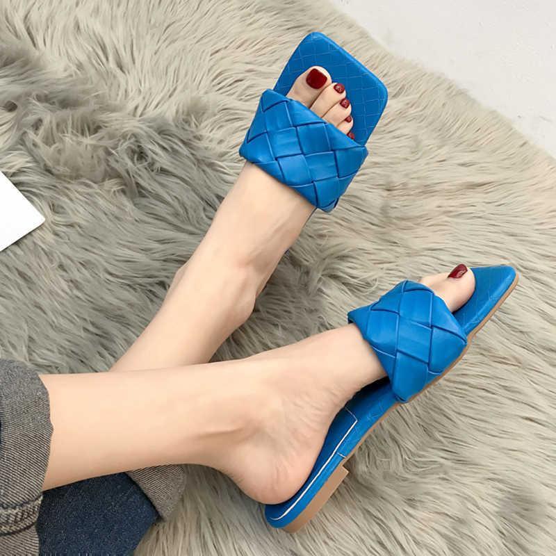Rimocy Blue Weave Slippers Flat Placa para las mujeres 2021 Sandalias de playa abiertas de verano Sandalias Flip Floops Mujer Plus Tamaño Soft PU Diapositivas