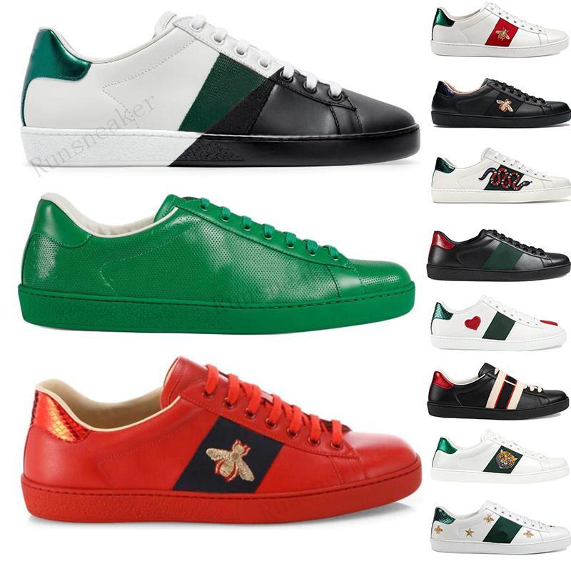 Hombres Mujeres Zapatillas de deporte Zapatos casuales de calidad Zapatillas de cuero Ace Bordado Rayas Zapatillas deportivas para caminar Moda Luxurys Diseñadores Mocasines planos