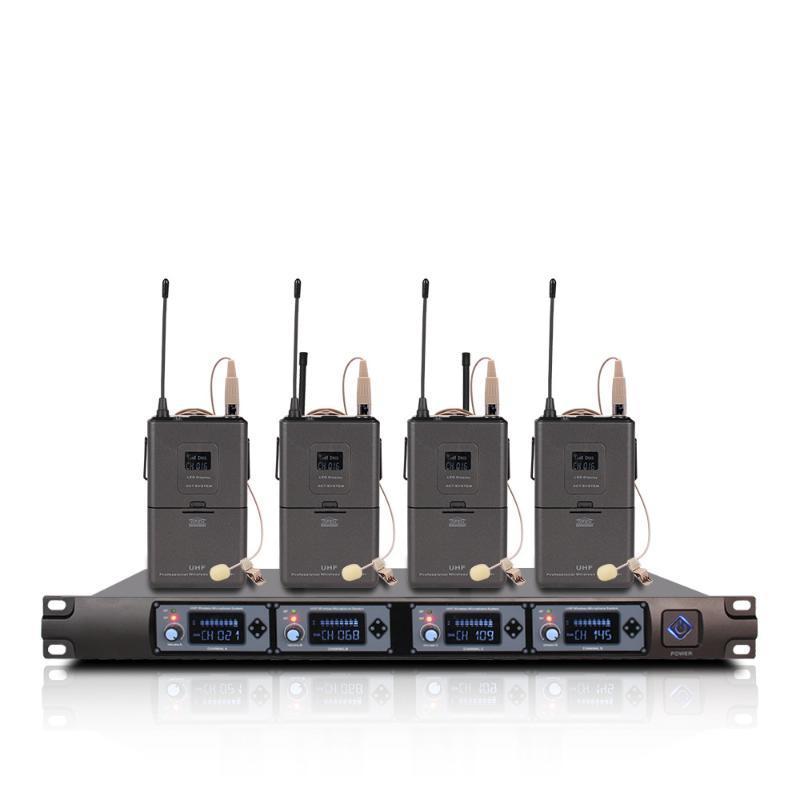 Один из четырех в четырех профессиональных гарнитурах, беспроводной системе микрофона с приемником для Kareoke Party Ctruad Custom Studio Schooding Mikro Microphones
