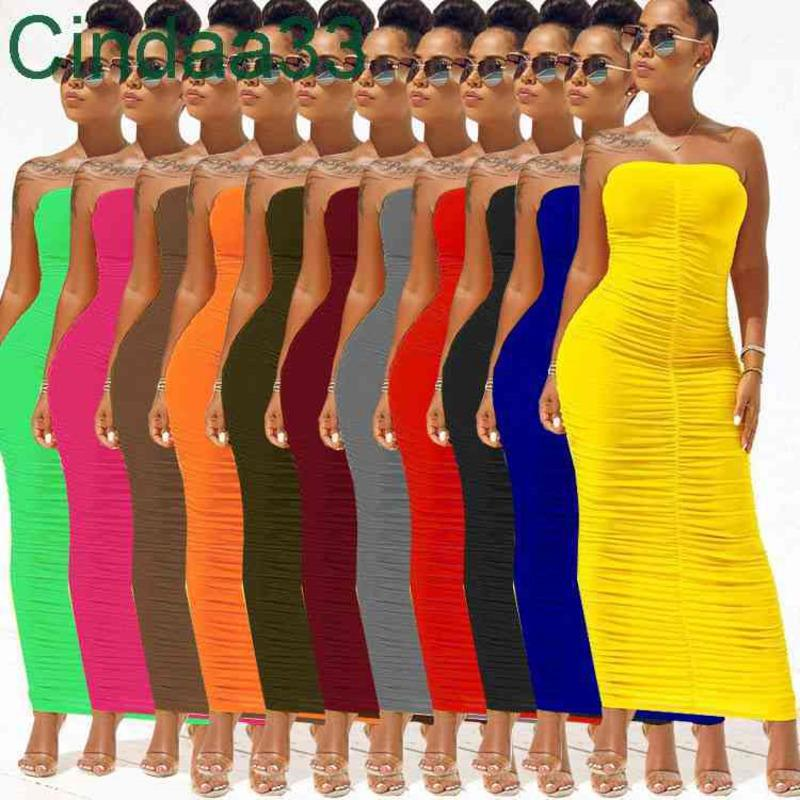 Yaz Kadın Uzun Maxi Elbise Kapalı Omuz Bandeau Moda Ince Pileli Elbise Sıkı Yüksek Streç Elbise Seksi Kulübü Bodycon Kalem Etek