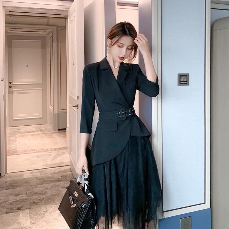 Llegada cómoda estilo de trabajo negro define delgado sin chaqueta trasera Malsh falda Dos conjuntos femeninos