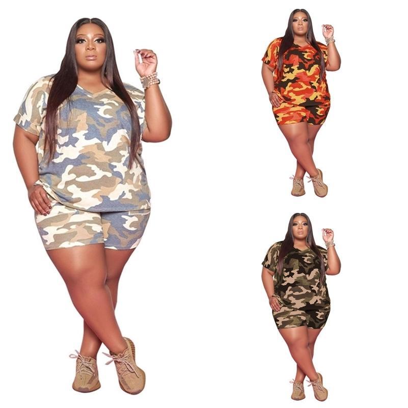 Yaz Kamuflaj Kravat Boyama Kadın Eşofman Kısa Kollu T-shirt + Şort Spor İki Parçalı Takım Moda Yağ Kızlar Kıyafet G5528CN