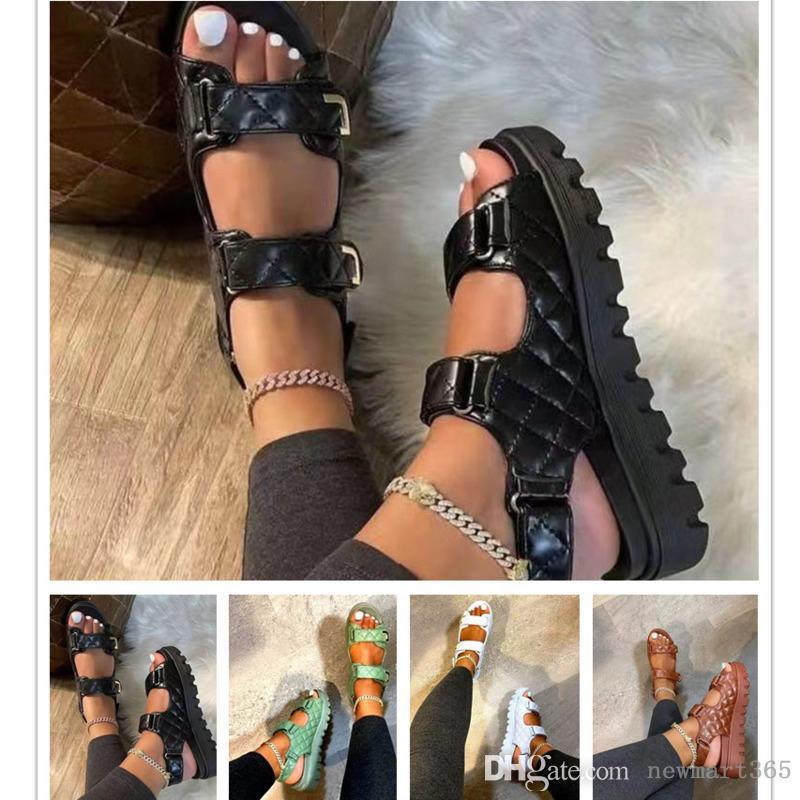 Wome 플랫폼 샌들 여름 디자이너 슬라이드 새로운 두꺼운 바닥 라운드 헤드 벨크로 신발 플러스 크기