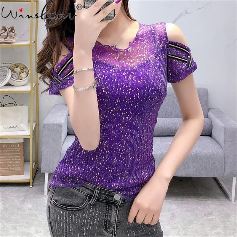 T-shirt femmes coton brillant coton manches courtes tee tops casual coréen mode maille maille mince t-shirt femme 210317