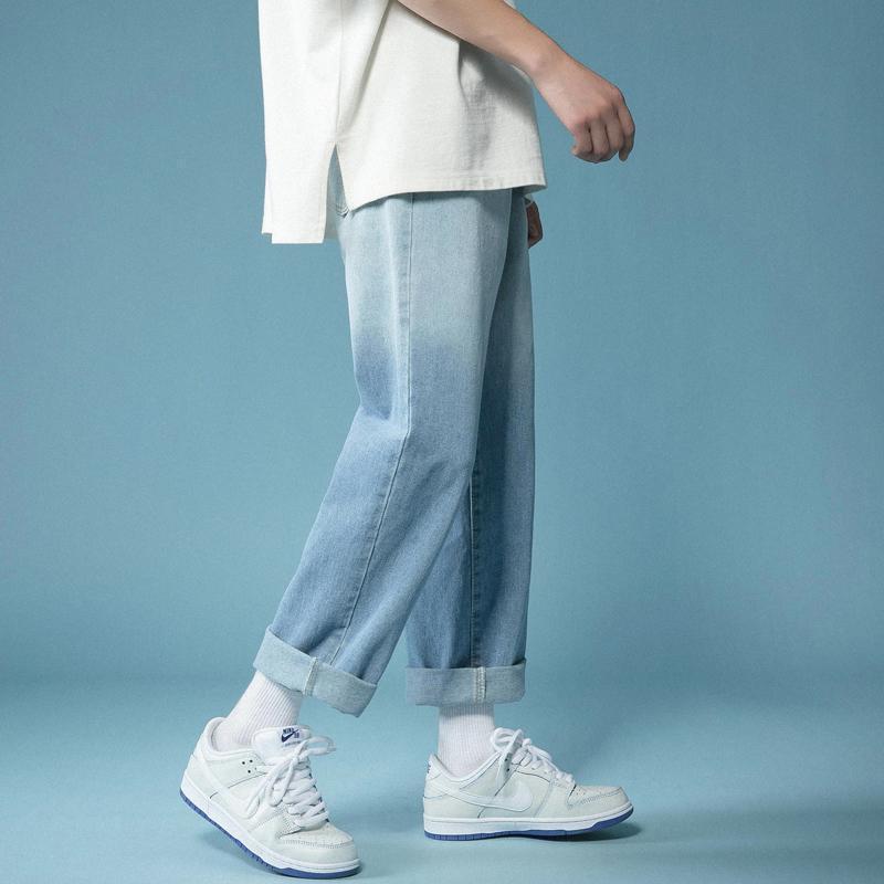 Jeans masculinos em linha reta calças jeans homens gradiente azul casual homme motociclista jeans calças coreanas streetwear masculino