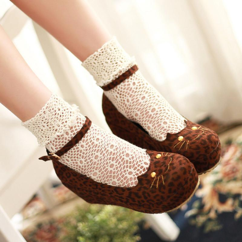 Dress Shoes Womens Lolita Mary Janes Cat Casual Platform Leopard Wedge Heel Sweet Round Toe Ankle Strap High Japanese Pumps Cosplay