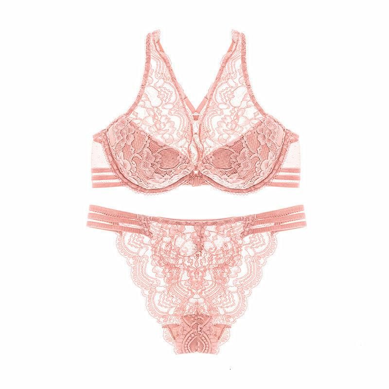 Bras Sets Sexy Gathering Comfortable French Flower Pure Color Fresh Lace Breathable Underwear Bra Suit 8605
