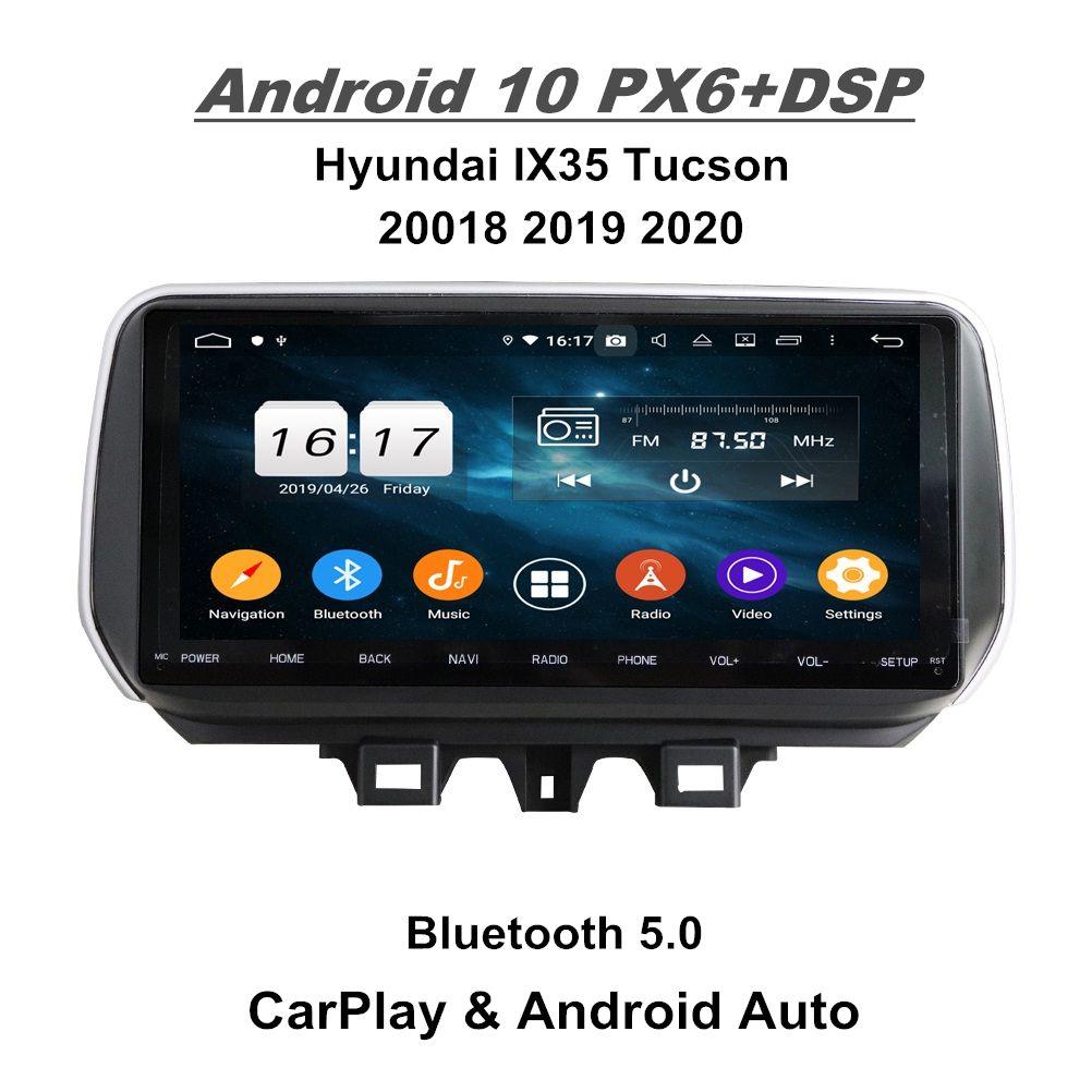 "Carplay Android 자동 4GB + 128GB 10.25 ""안드로이드 10 자동차 DVD 라디오 GPS 네비게이션 현대 IX35 Tucson 2018 2019 2020 WiFi Bluetooth 5.0"