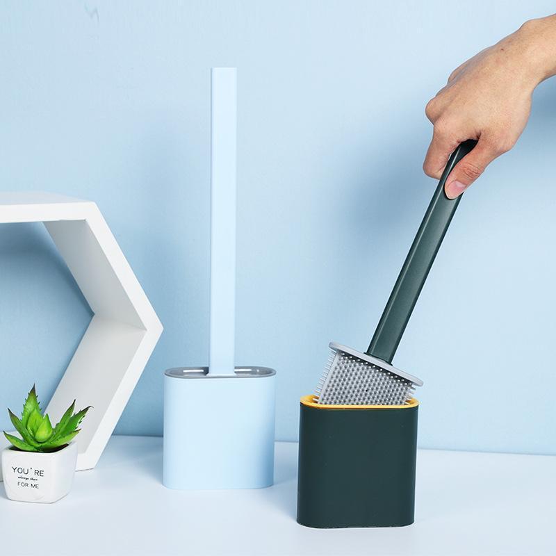 Cepillo portátil Tenedor de cepillo de inodoro Cepillos de limpieza creativos Conjunto Conjunto de soporte de cepillo de inodoro Conjunto de baño Durable Herramienta limpia VTKY2386