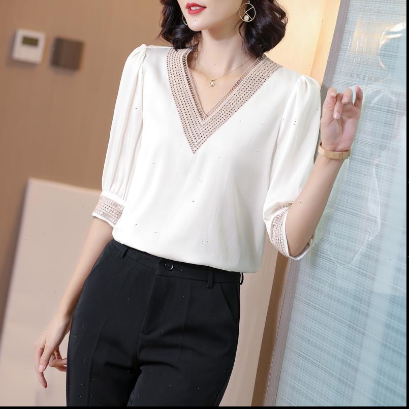 Camicie da donna coreana Shirt da donna pesante Camicetta da donna in seta Plus Size Bianco V Neck Blusas Mujer de Moda