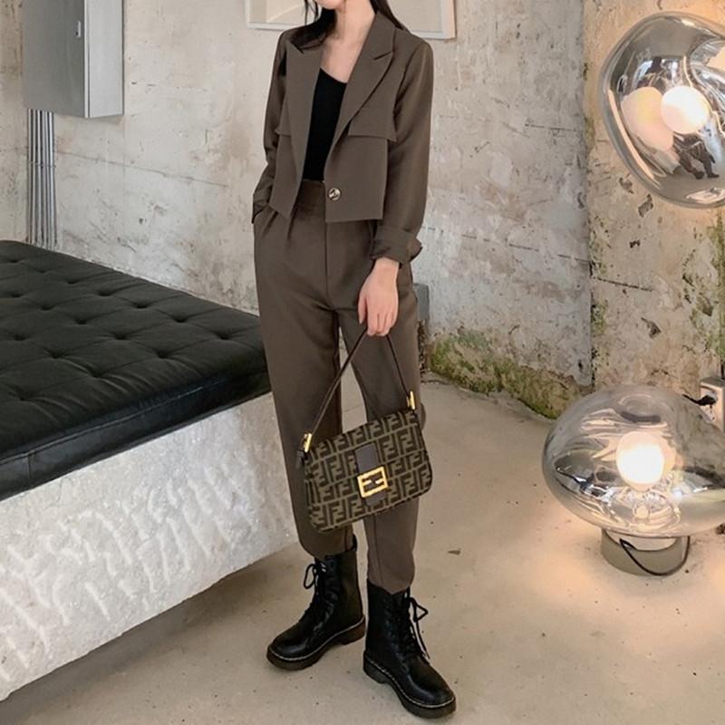 ZAWFL Herbstfrauen Solid Color Blazer Lange Hosen Einzelne Button Mantel Hohe Taille Gerade Hosen für Büro Lady 210603