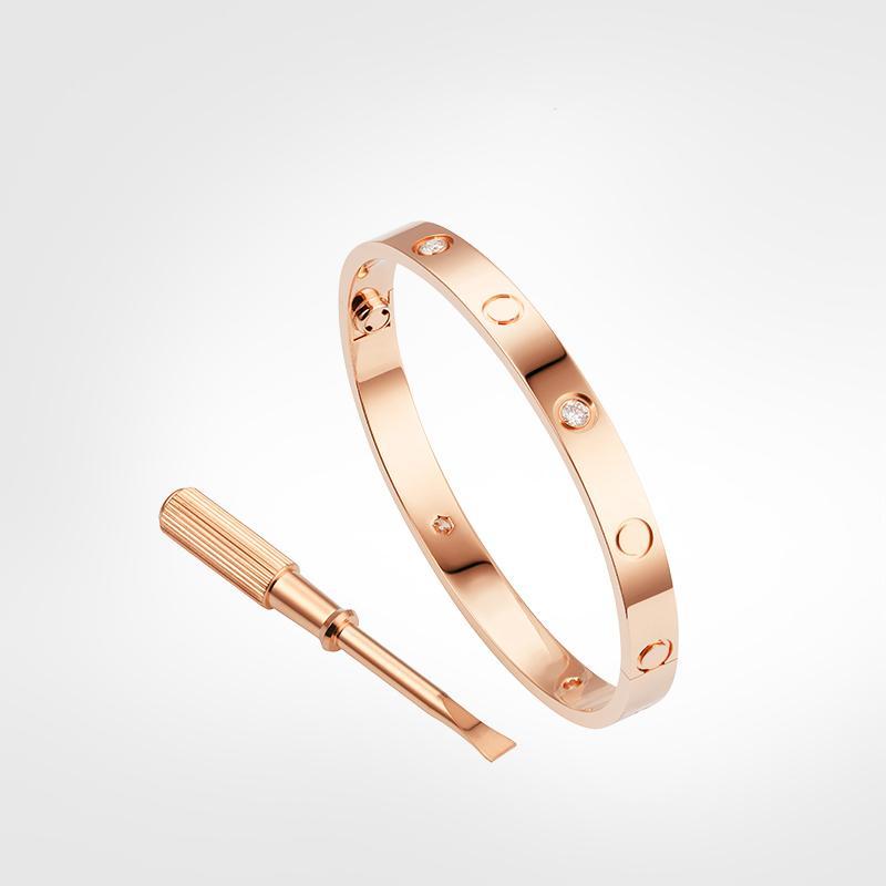 Aşk vida bilezik 4 elmas tasarımcı bilezik erkek altın bilezik lüks takı kadınlar 316L paslanmaz çelik altın kaplama asla solmaya asla