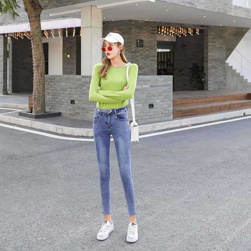 Jeans 2021 Capris da donna Autunno in autunno coreano vita alta elastico stretto leggings stretti