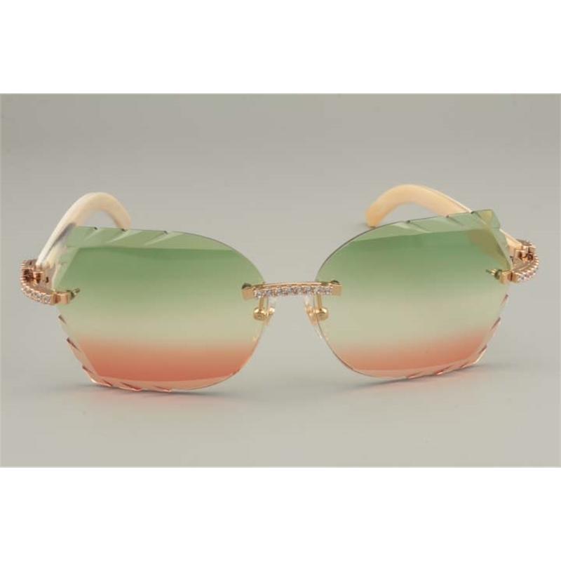 Lunettes de soleil à la mode Vente directe Highend Diamant A Pure Naturel Corne Blanc Miroir Jambes Décoratives Taille MM