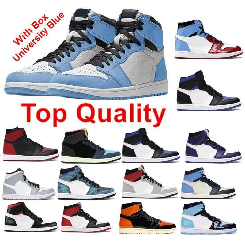 2021 Scarpe da basket Top Quality Real Carbon Fiber University Blue 1s OG Shadow 2.0 1 High Court Purple White Royal Toe Concord 11 Spazio Jam 11s UNC