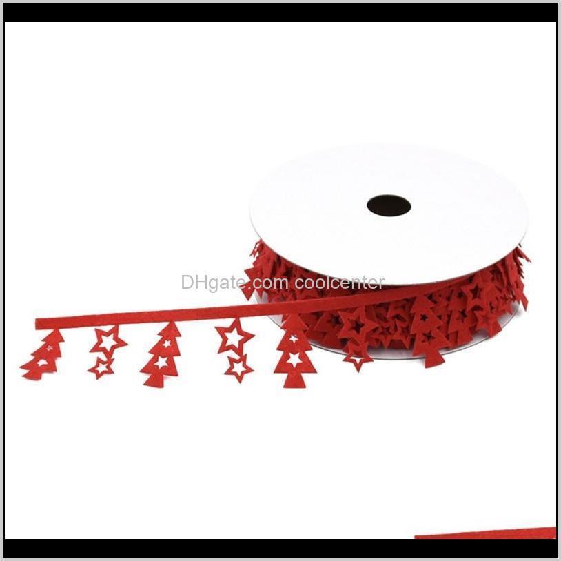 Süslemeleri Ev Bahçe Bırak Teslimat 2021 10 M Polyester Kırmızı Kurdele Ile Küçük Noel Ağacı Şenlikli Parti Malzemeleri G3KJC