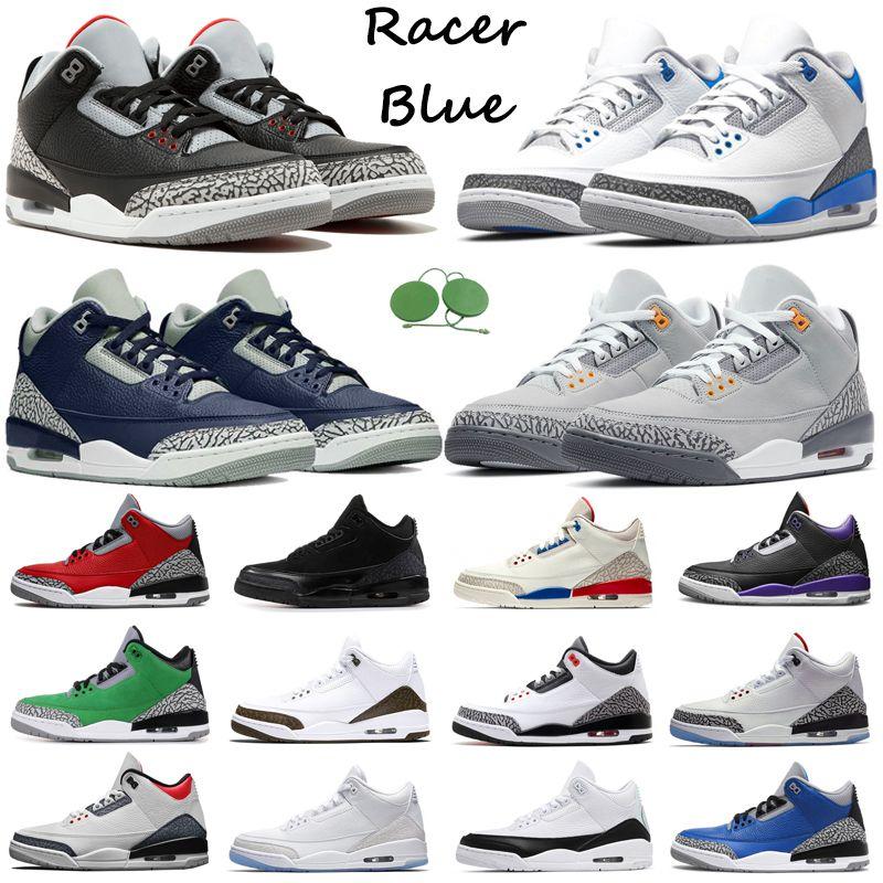 3S Jumpman Hombres Zapatos de baloncesto Air Jordan 3 Racer Blue UNC Midnight Navy Cemento Negro Cat Pine Green Pure White Fire Red Mens Entrenadores Deportes Zapatillas deportivas